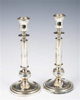 . A PAIR OF STERLING SILVER CANDLESTICKS. Israel,