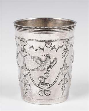. A LARGE SILVER KIDDUSH CUP. Russia, 1796. Decorated