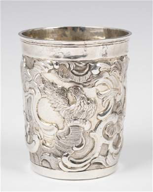 . A LARGE SILVER KIDDUSH CUP. Russia, 1767. Decorated