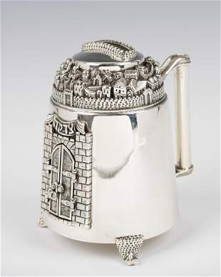 . A LARGE STERLING SILVER CHARITY CONTAINER BY DABBAH
