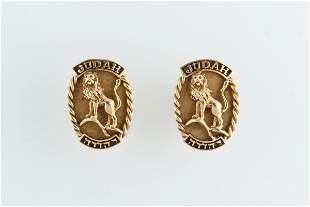 A PAIR OF 14K GOLD CUFFLINKS. American, c. 1950.
