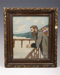 1. AN EARLY NEEDLEPOINT DEPICTING DR. THEODOR HERZL.