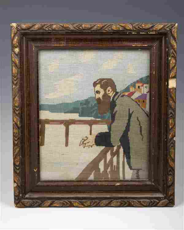 . AN EARLY NEEDLEPOINT DEPICTING DR. THEODOR HERZL.