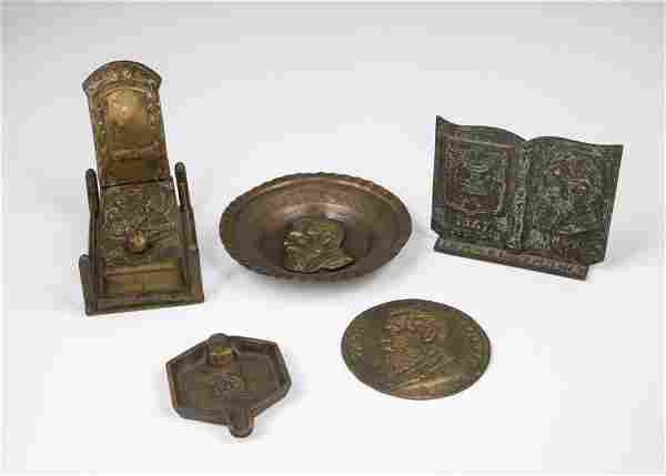 . FIVE BRASS ITEMS DEPICTING DR. THEODOR HERZL. The
