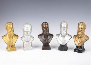 . FIVE CERAMIC BUSTS OF DR. THEODOR HERZL.