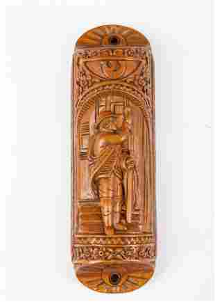 . A HAND CARVED WOODEN MEZUZAH CASE. Modern. Hand