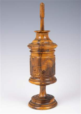 . AN OLIVE WOOD SPICE CONTAINER. Jerusalem, c. 1920.