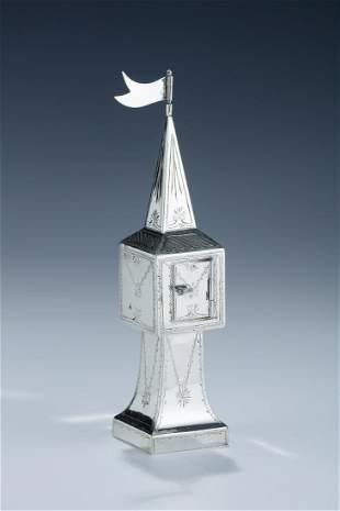 A STERLING SILVER SPICE TOWER BY BRITTON, GOULD AND