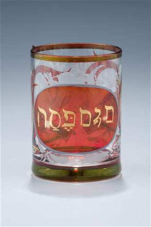 A RUBY COLORED PASSOVER BEAKER