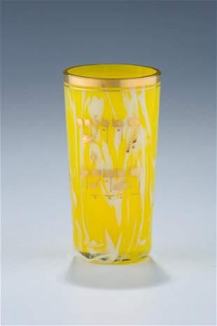 A GLASS KIDDUSH BEAKER