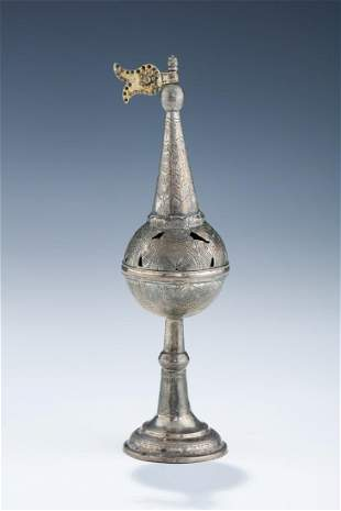 AN EARLY SILVER SPICE TOWER