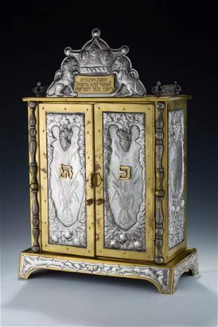 A STERLING SILVER AND BRASS ARON KODESH