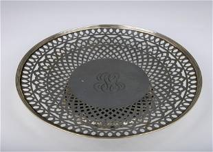 A LARGE STERLING SILVER FOOTED PLATTER BY REED AND