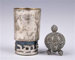 A STERLING SILVER KIDDUSH CUP BY BIER AND A STERLING