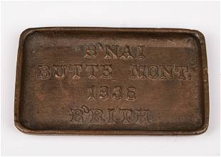 AN EXTREMELY RARE COPPER ASHTRAY FROM BNAI BRITH OF
