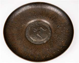 A LARGE ACID ETCHED WALL PLATTER