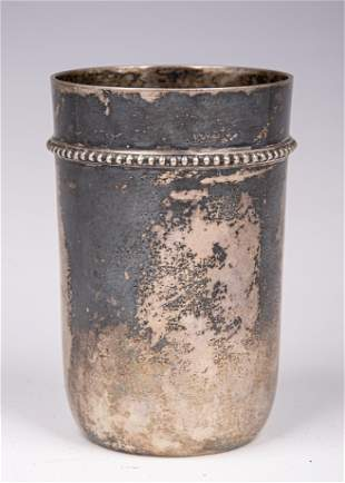 A LARGE SILVER KIDDUSH CUP BY LAZARUS POSEN