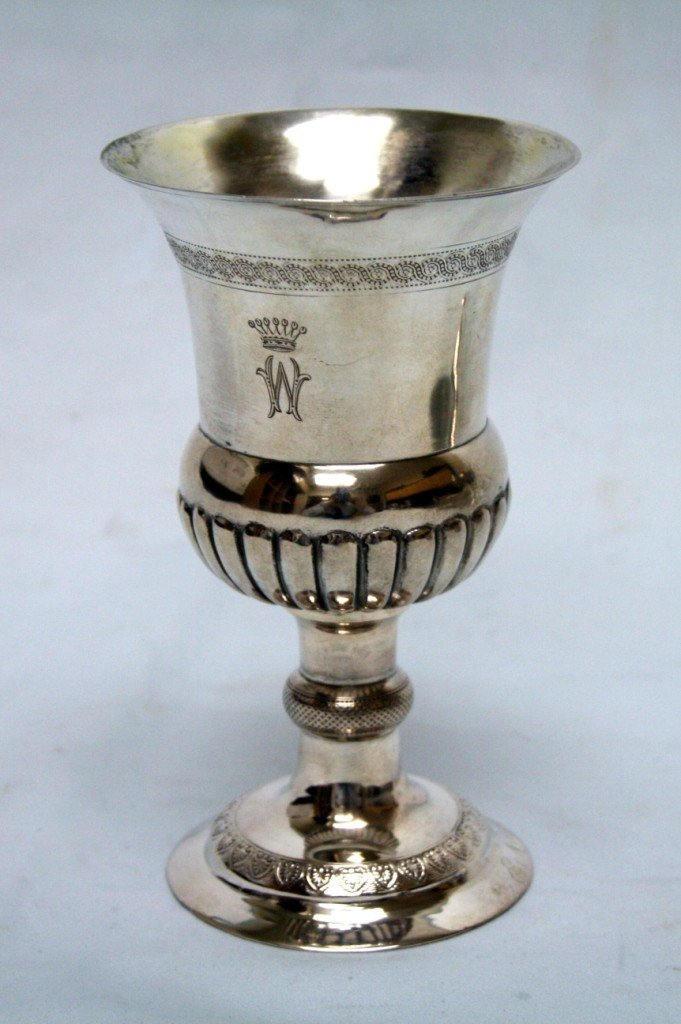 23: A LARGE SILVER KIDDUSH CUP.