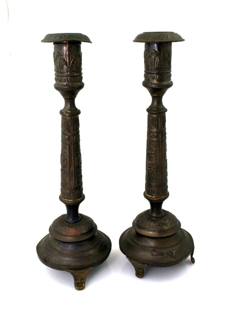 2: A PAIR OF SABBATH CANDLESTICKS. Warsaw, c. 1900.