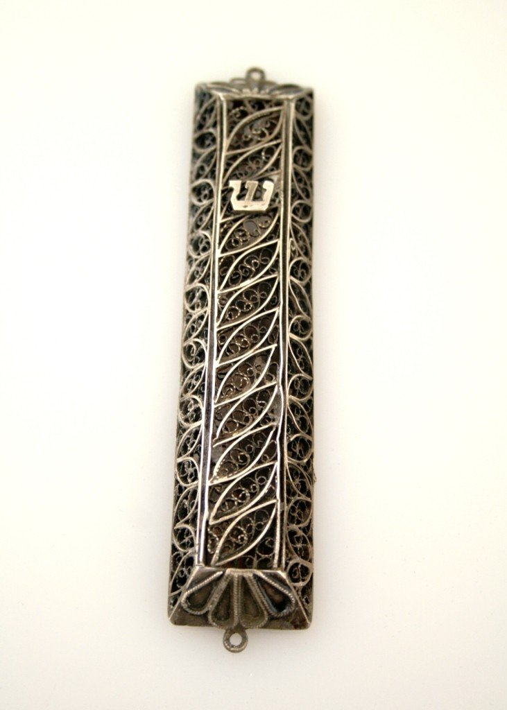 5: A SILVER FILIGREE MEZUZZAH. Israel, c. 1950. Made co