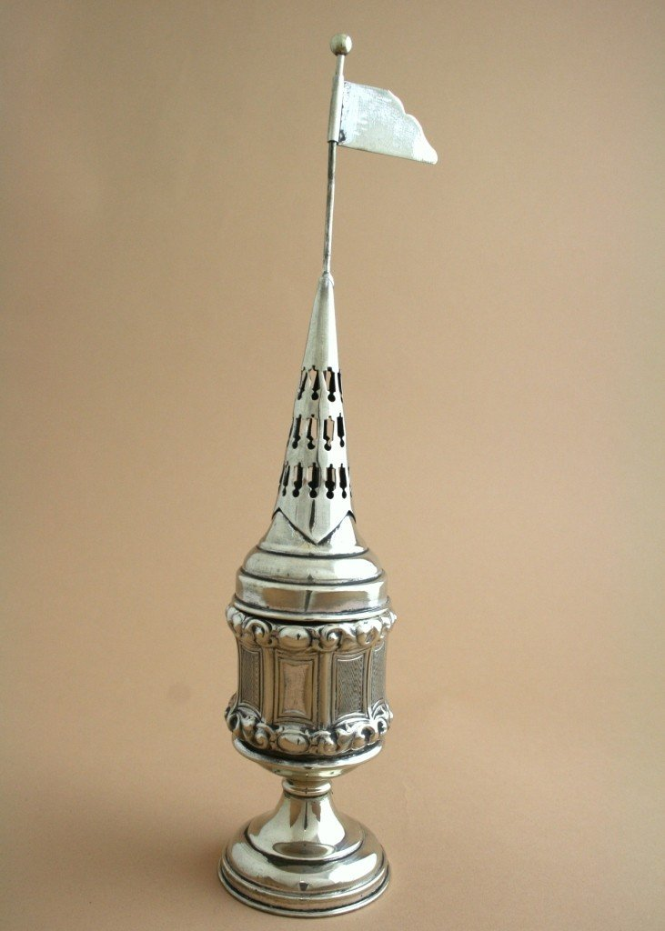 9: A FINE SILVERPLATED ANTIQUE SPICE TOWER. Vienna,