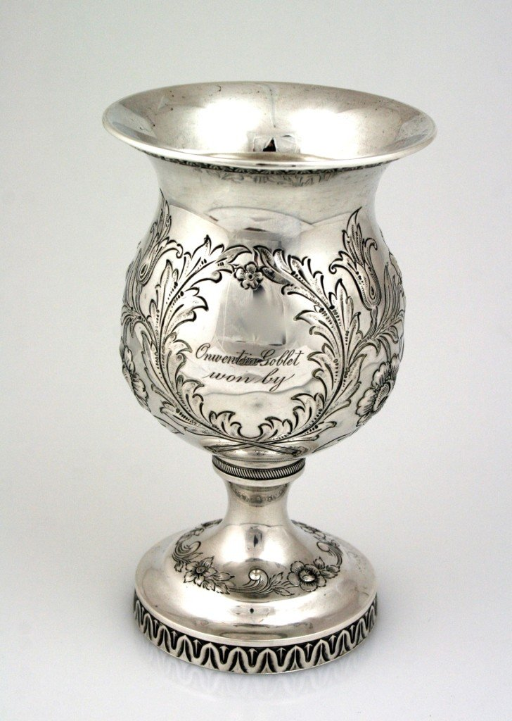 13: A LARGE COIN SILVER GOBLET BY REED AND BARTON. Unit