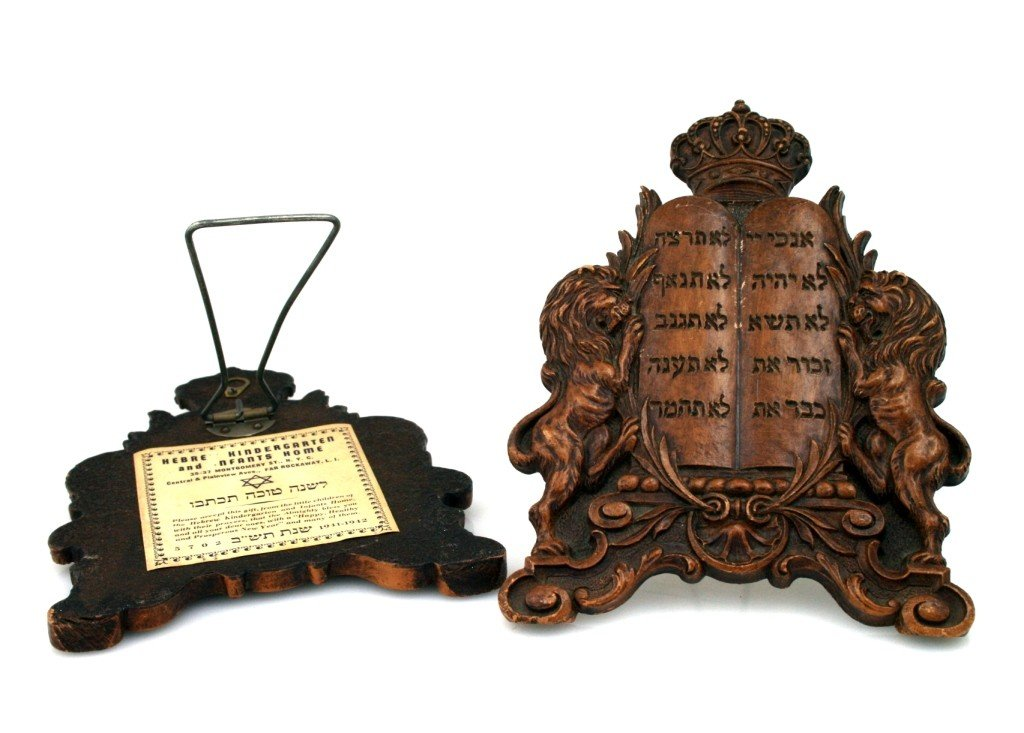 22: TWO WOODEN JUDAIC BOOKENDS. New York, 1941. Depicti