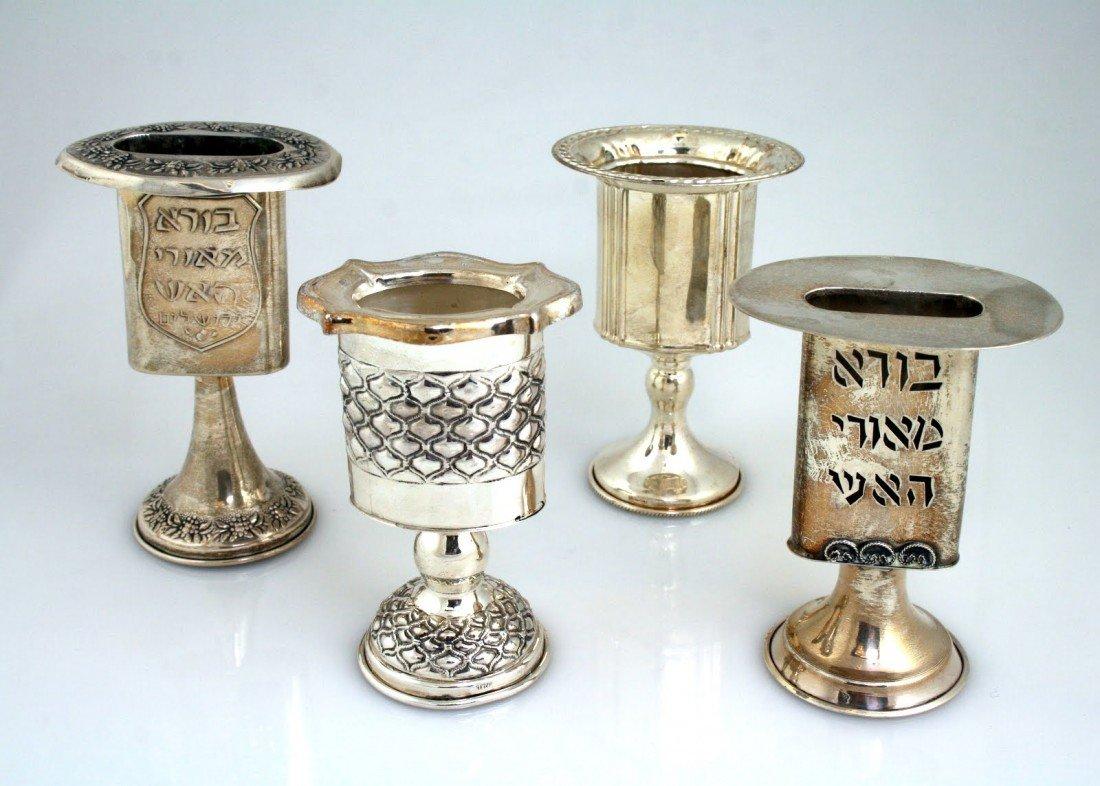 21: FOUR STERLING HAVDALAH CANDLE HOLDERS. Israel, c. 1