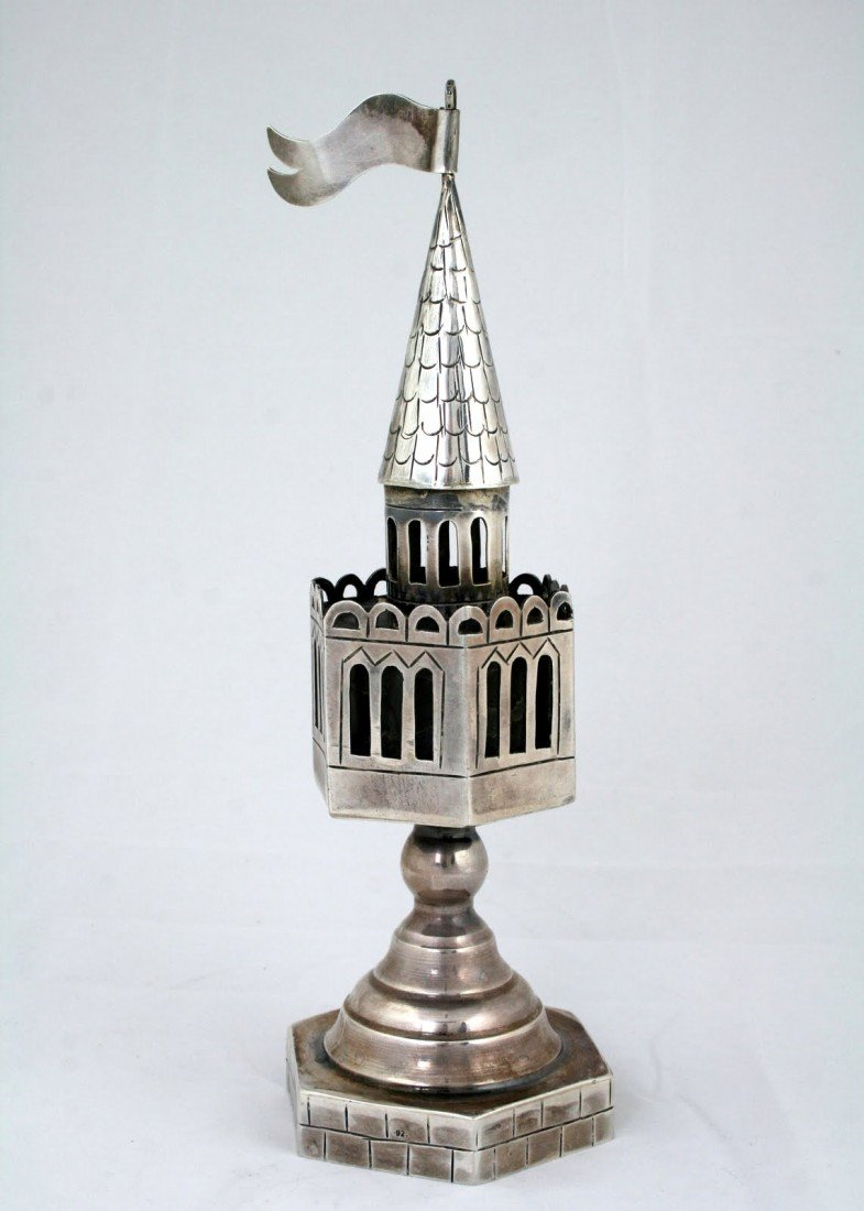 40: AN ARTISAN STERLING SILVER SPICE TOWER. 20th centur