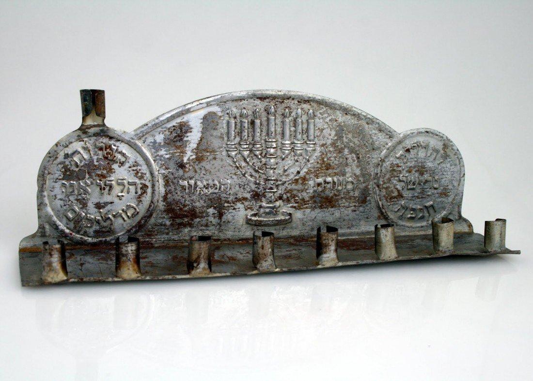 42:  A RARE AND EARLY TIN CHANUKAH LAMP. New York, c.19