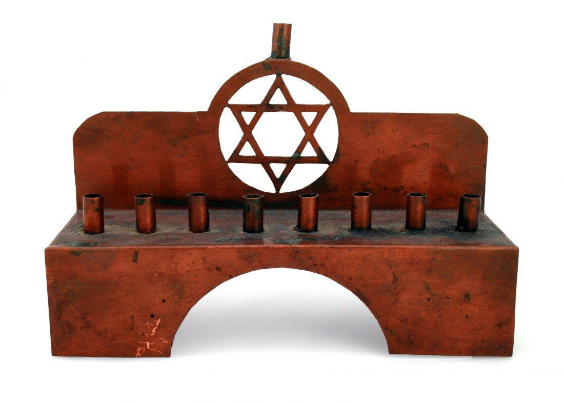 55: A COPPER CHANUKAH LAMP. Germany, c. 1920.