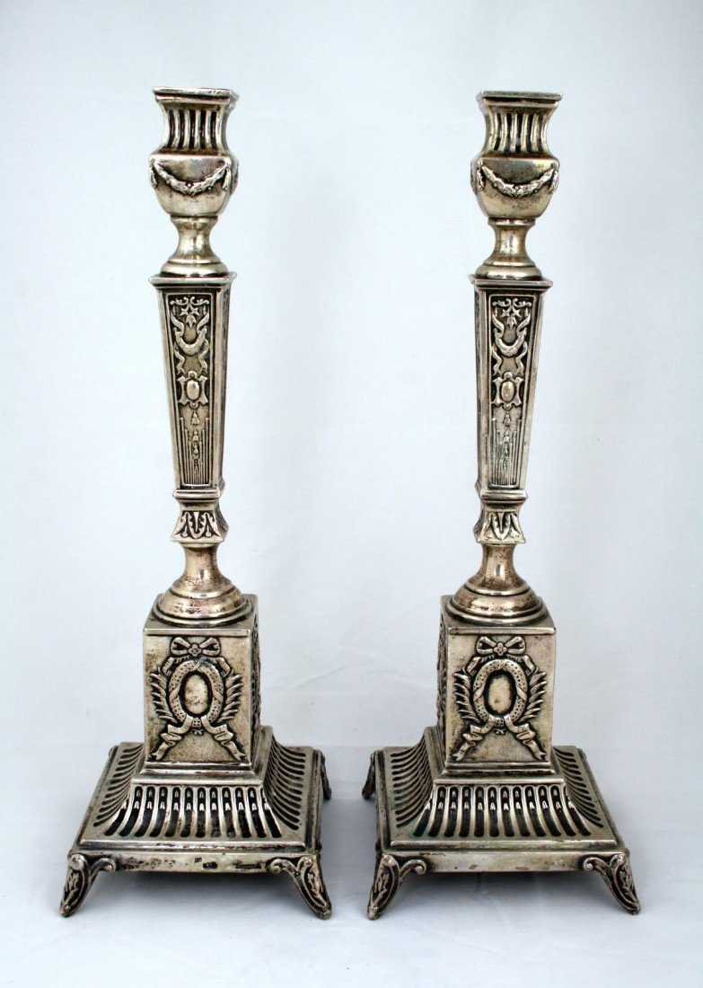 71: A LARGE PAIR OF SILVER SABBATH CANDLESTICKS BY ISAA