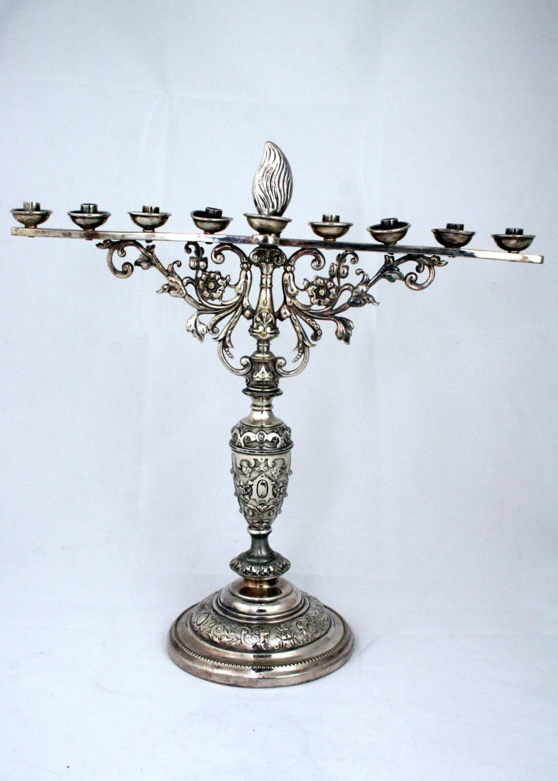112: A LARGE SILVERPLATED MENORAH. Germany, c.1890. On