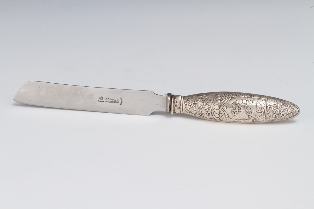18: A SILVER CHALLAH KNIFE. Germany, c.1880.