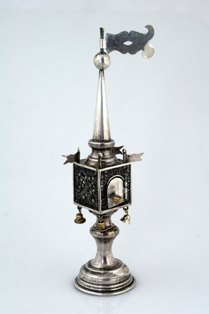 2: A SILVER SPICE TOWER. Warsaw, 1883. On round base wi