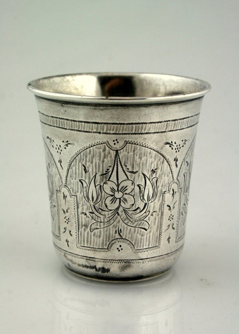 6: A LARGE SILVER KIDDUSH CUP. Russia, 1870. Of thick g
