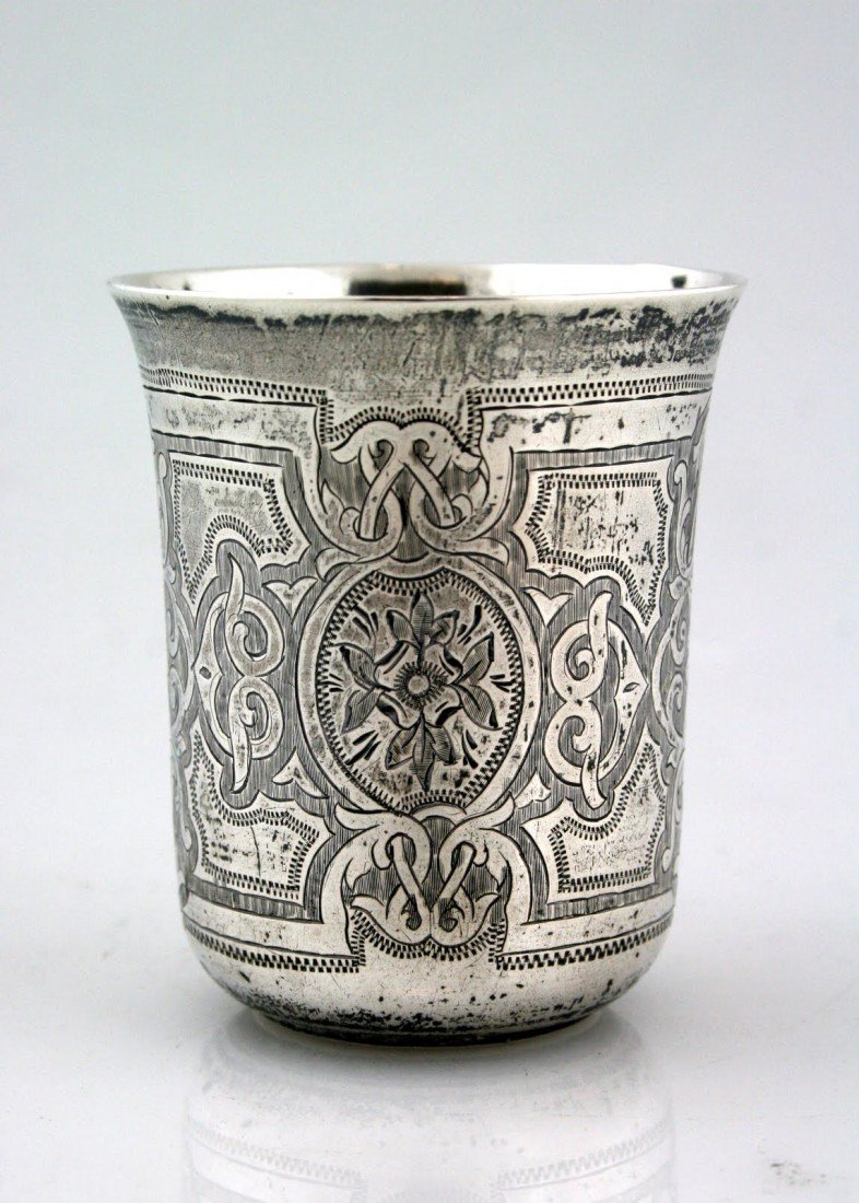 8: A LARGE SILVER KIDDUSH CUP. Russia, 1870. Of thick g