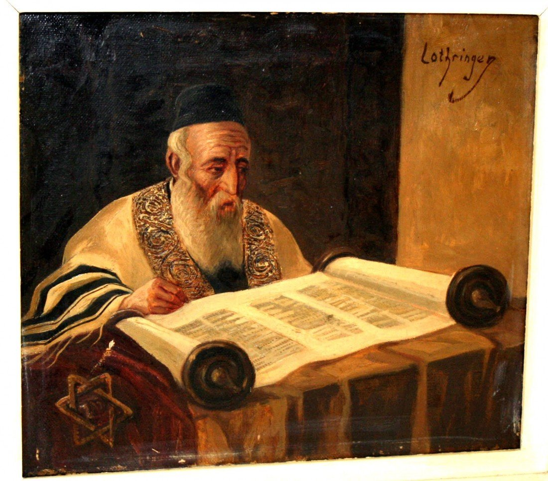 13: AN OIL PAINTING OF A RABBI READING THE TORAH BY LOT