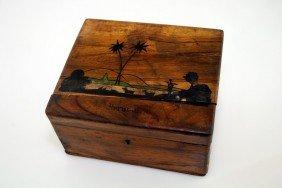 A LARGE OLIVEWOOD BOX. Jerusalem, C.1910. Decorated