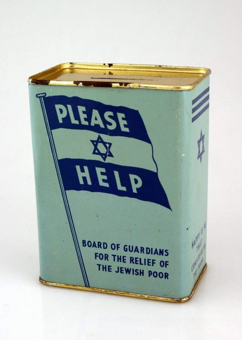 74: A TIN CHARITY CONTAINER. Liverpool, c. 1930. Collec
