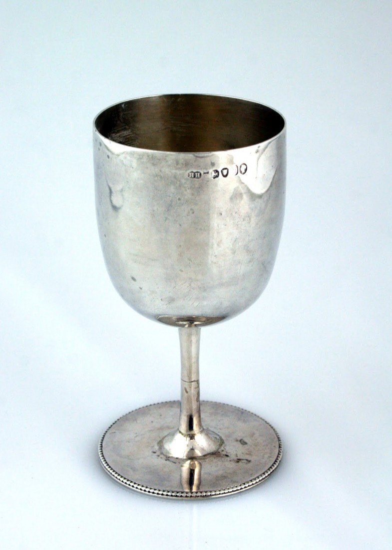82: AN EARLY STERLING SILVER KIDDUSH GOBLET BY HENRY HO