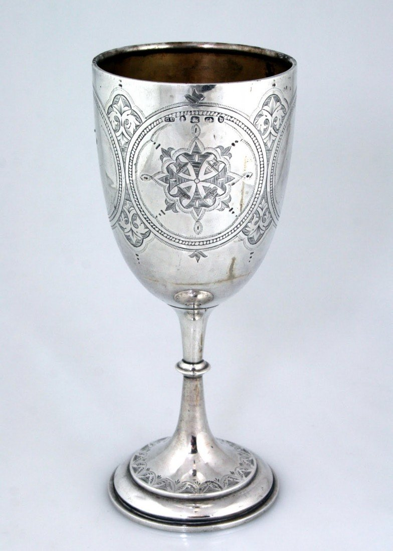 83: AN EARLY MONUMENTAL STERLING SILVER KIDDUSH GOBLET