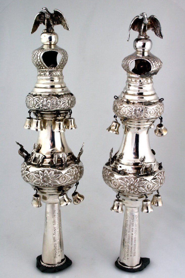 87: A PAIR OF GEORGE V SILVER TORAH FINIALS BY MOSES SA
