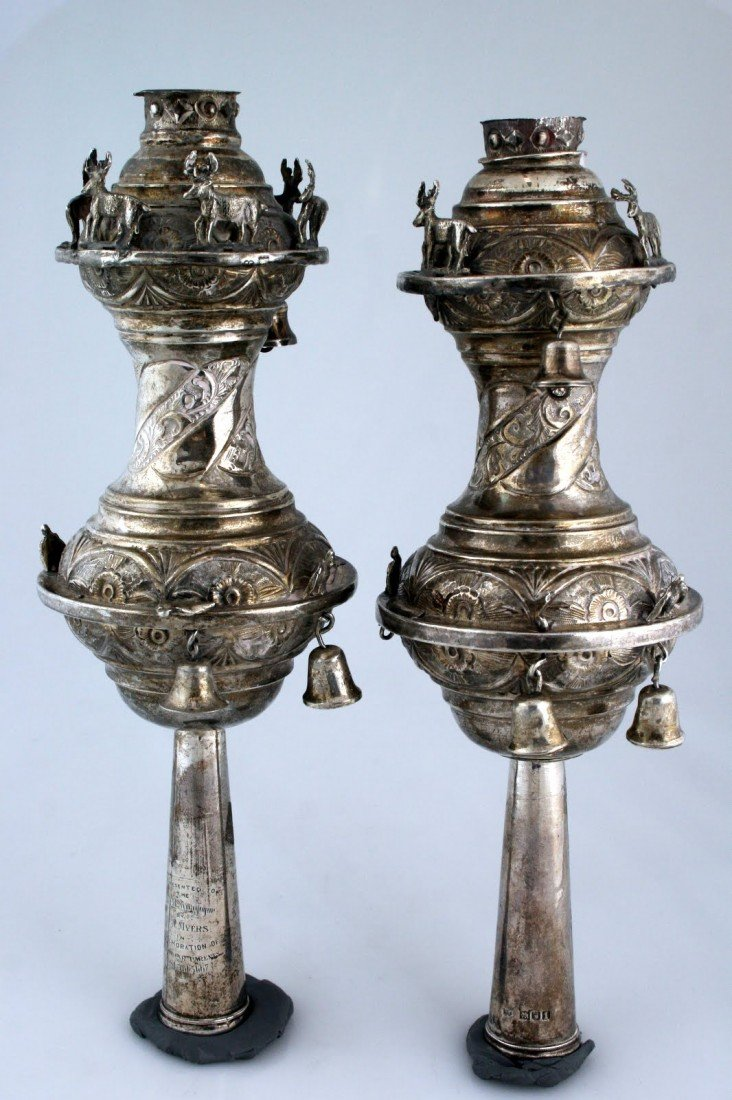 88:  A PAIR OF EDWARDIAN SILVER TORAH FINIALS BY RUEBIN