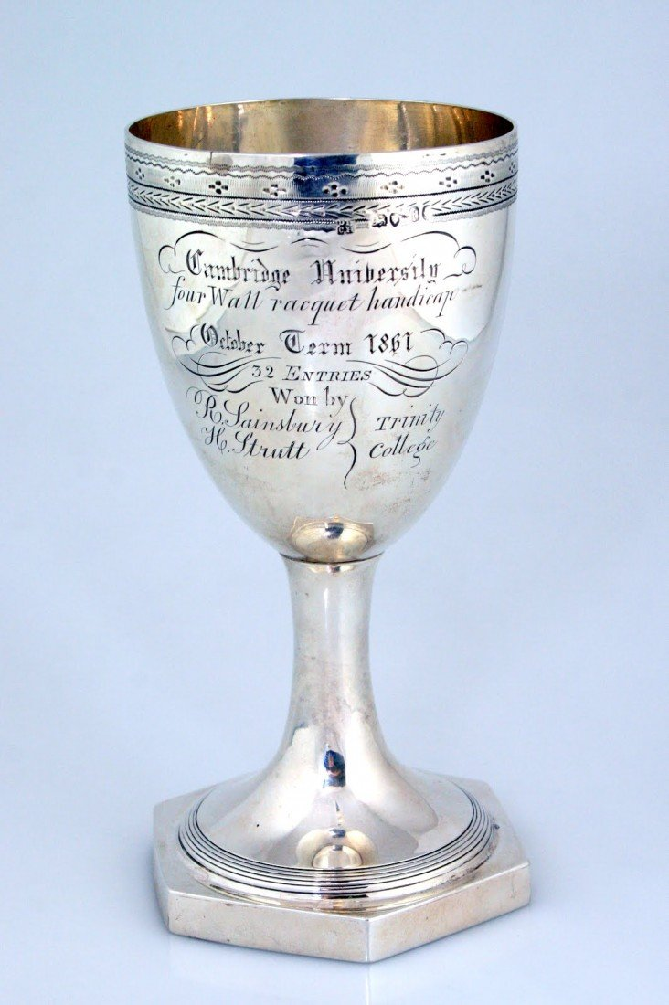 90: A LARGE STERLING SILVER GOBLET. London, 1861. On oc