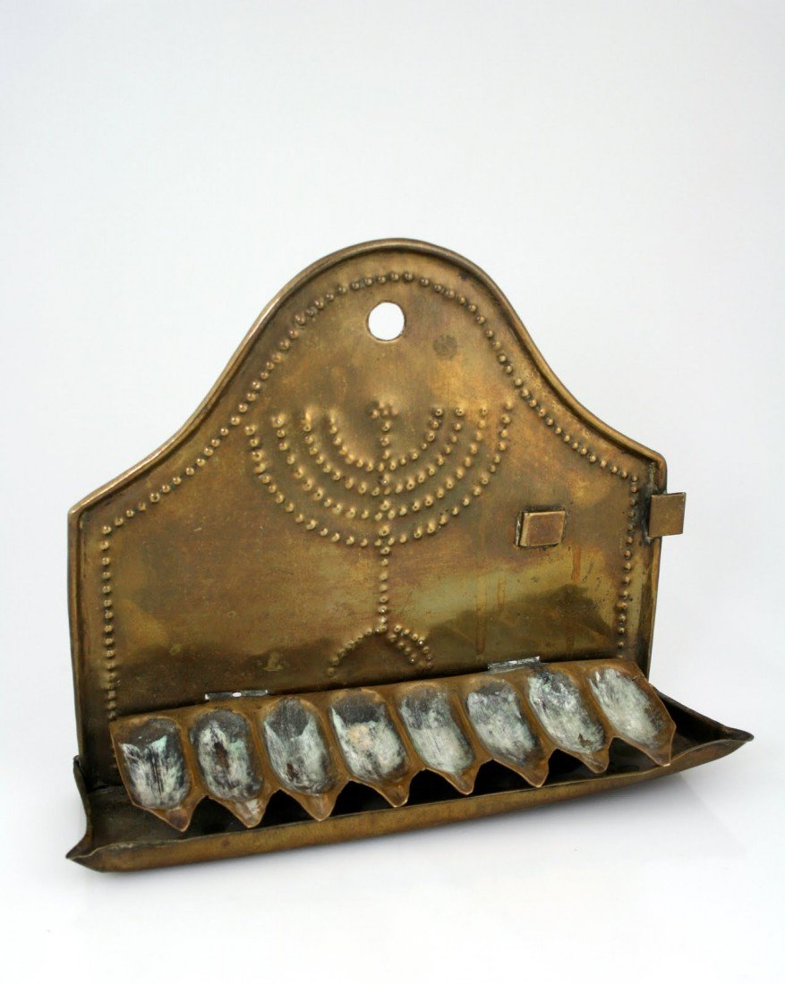 95: A BRASS SHEET METAL CHANUKAH LAMP. The Netherlands,