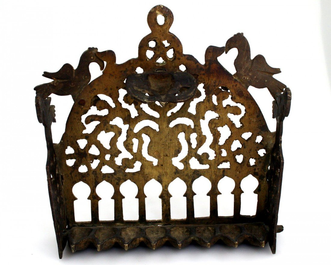 96: A BRONZE CHANUKAH LAMP. Algeria, c. 1900. Cast. Dec