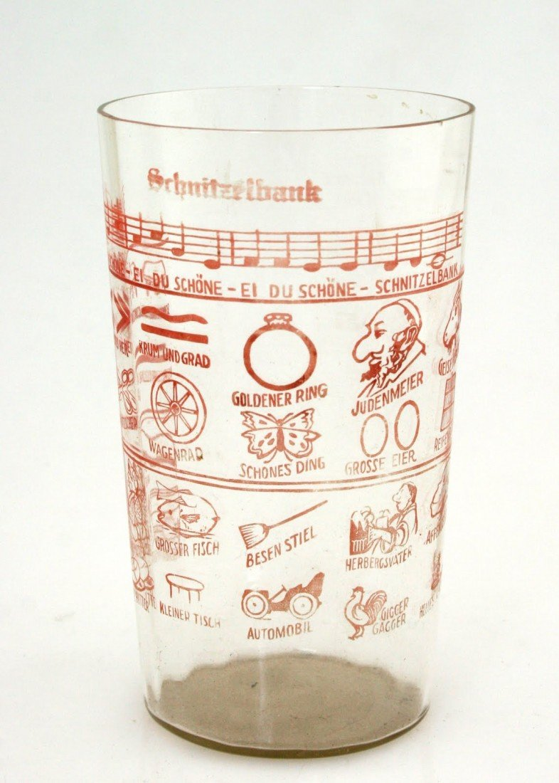 9: A LARGE HIGHBALL GLASS WITH ANTI-SEMITIC PICTURE