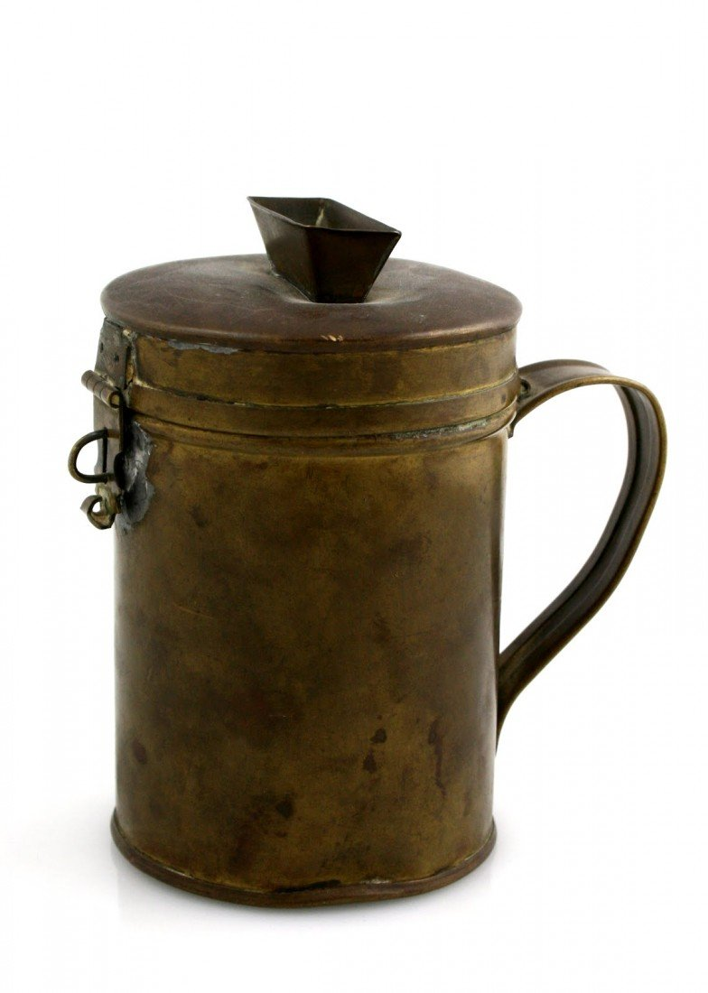 10: A BRASS CHARITY CONTAINER. United States, c. 1900.