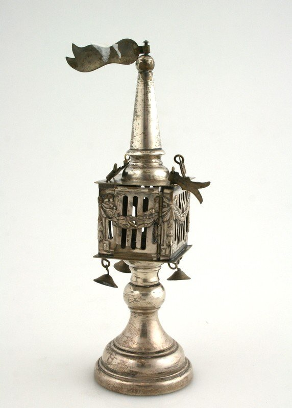 13: A LARGE SILVER PLATED SPICE CONTAINER. Central Euro